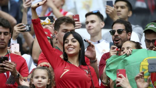 Georgina Rodriguez watches Ronaldo defeat Morocco in Moscow