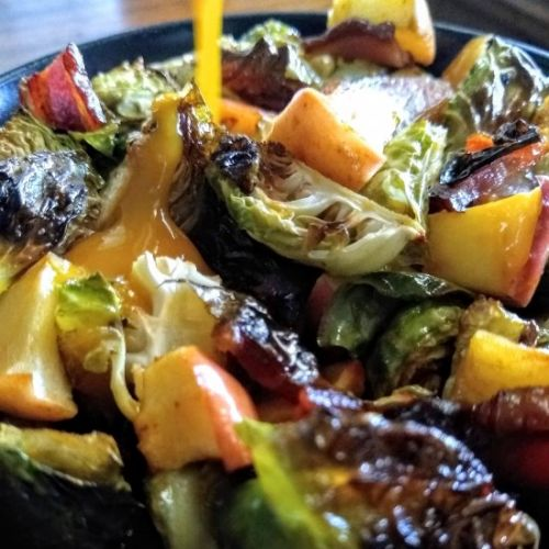Salted Maple Bacon Brussels Sprouts