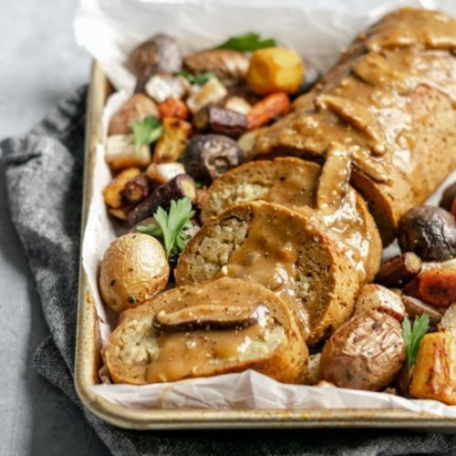Seitan Roast with Chestnut Risotto