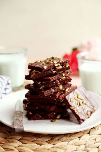 Cacao Brownies Thins with Salted Pumpkin Seeds