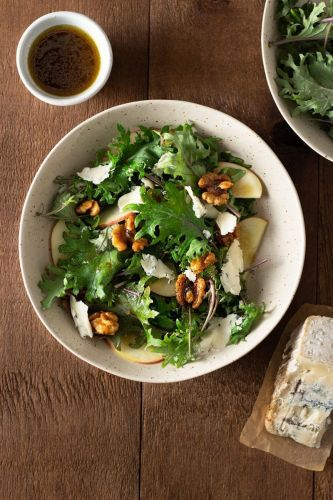 Kale Salad with Apple, Blue Cheese and Maple Glazed Walnuts