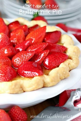 Buttermilk Pie Topped with Strawberries