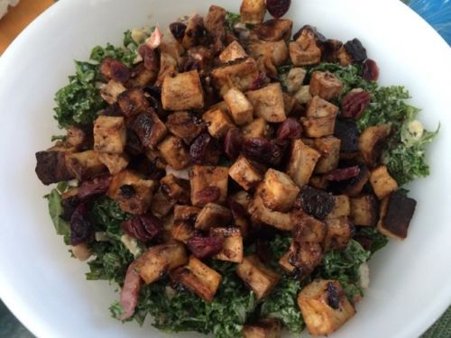 Kale Salad and Smoky Tofu