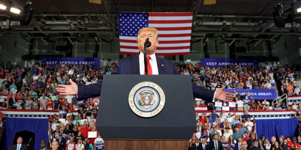 Trump supporters chant 'SEND HER BACK' as the president attacks Ilhan Omar at rally in North Carolina