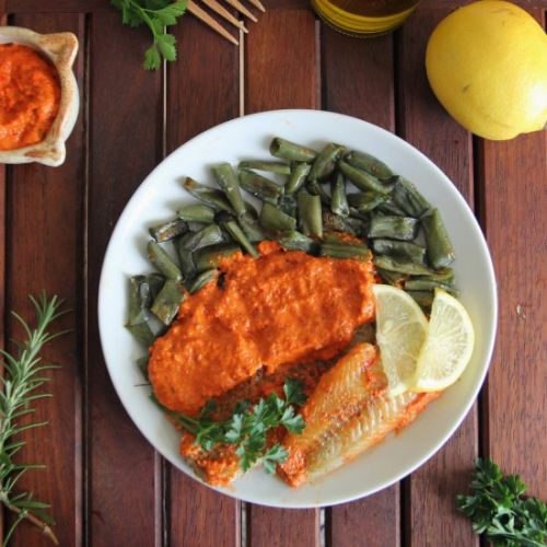 Baked Cod with Romesco Sauce
