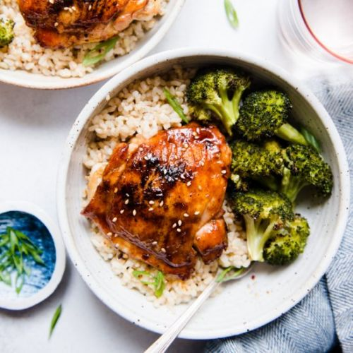 Roasted Sticky Asian Chicken Thighs
