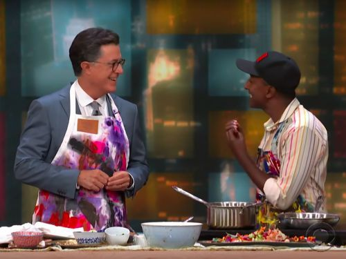 Watch Marcus Samuelsson and Stephen Colbert Make Cricket-Dusted Fried Chicken