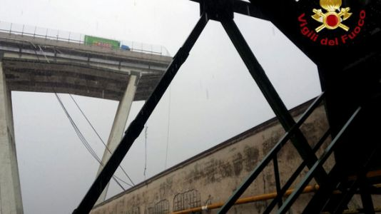 Suspension Bridge On Busy Highway Partially Collapses In Genoa, Italy