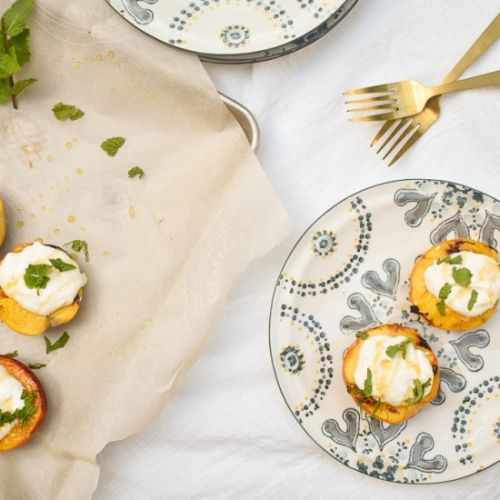 Grilled peaches w/ whipped ricotta