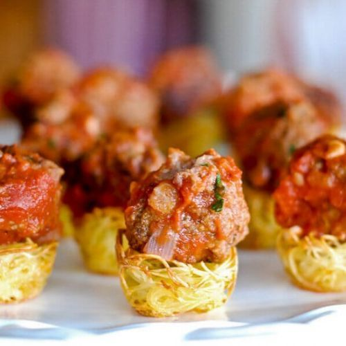 Baked Pasta Nests With Meatballs
