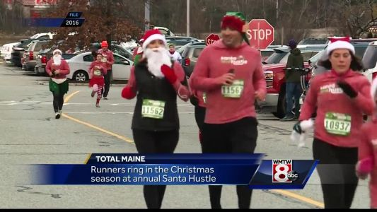 Runners dress as Santa, eat cookies during Maine holiday race