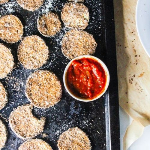 Baked Eggplant Zucchini Fritters