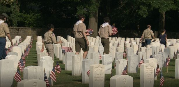 Boy Scouts place thousands of flags to honor fallen soldiers for Memorial Day