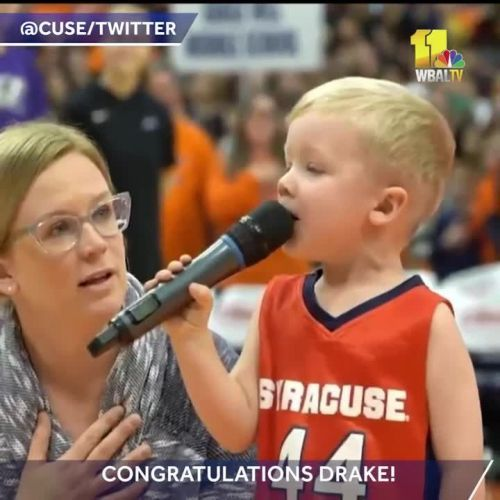 3-Year-old belts out National Anthem at basketball game