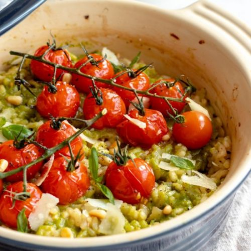 Baked Pesto Risotto with tomatoes