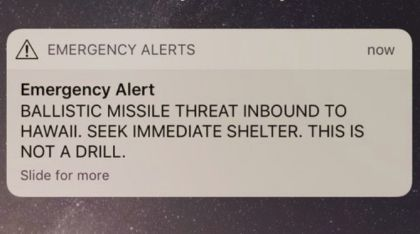Hawaii Officials: Text Alert About Missile Threat Was Mistake