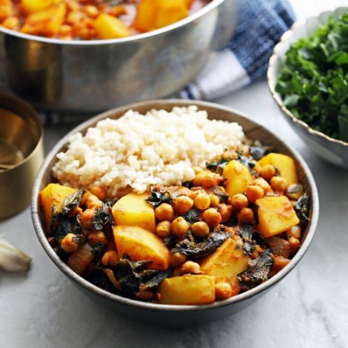 Spicy Chickpea, Kale, and Potato Curry