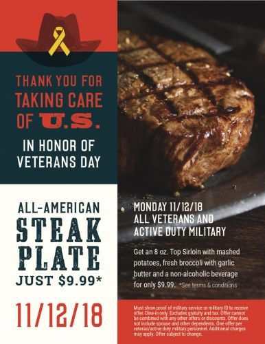 Black Angus Steakhouse Honors Veterans with an All-American Steak Plate for Just $9.99