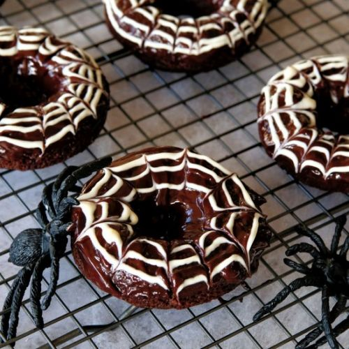 Chocolate Spider Web Doughnuts