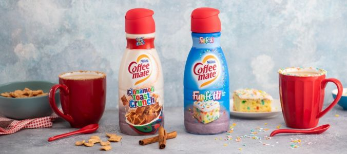 Coffee-mate is launching Cinnamon Toast Crunch and Funfetti creamers