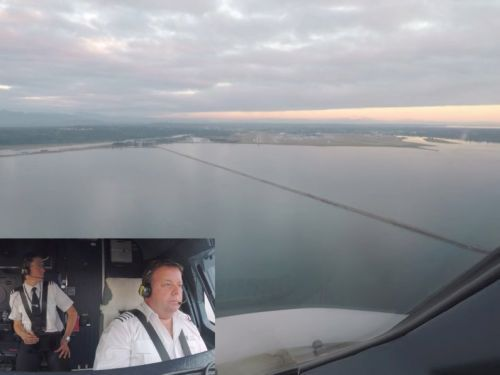 A British Airways pilot shared footage of his stunning descent into Vancouver at sunset