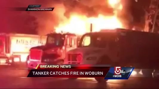 Tanker catches fire in Woburn