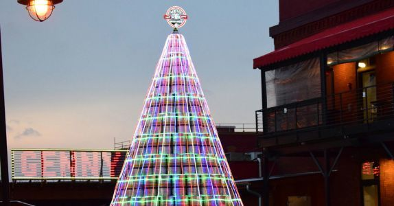 Genesee Brewery Unveils Three-Story-Tall Keg Christmas Tree