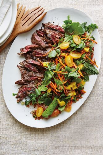 Steak Salad with Red Rice, Yellow Tomatoes and Mango
