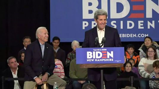 Former Secretary of State John Kerry joins Joe Biden on campaign trail in NH