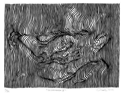 Using nothing but lines, this artist creates dizzying 3D drawings that will make you do a double-take