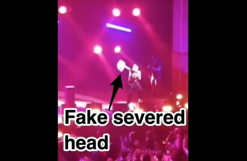 A British rapper screamed 'F- Boris' and held up a fake severed head of the UK prime minister during a performance