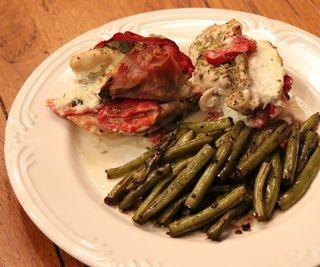 Prosciutto-stuffed Chicken and Balsamic Green Beans