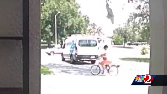 VIDEO: Amazon delivery driver caught on camera taking girl's bike, riding away