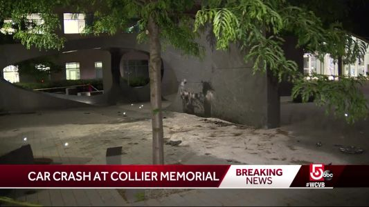 Car crashes into memorial to slain MIT officer
