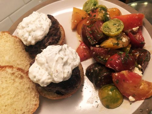 Lamb Burgers and Tomato Salad
