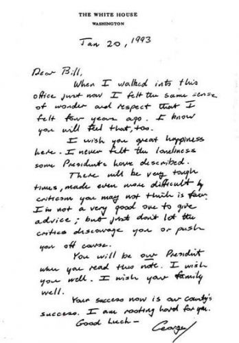 The letter George H.W. Bush left for Bill Clinton is a lesson in grace