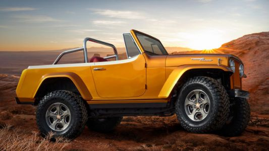 Jeepster Beach Concept Is What Happens When You Stuff A New Wrangler In A 53-Year-Old Shell