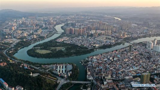 Aerial view of Baise, Guangxi