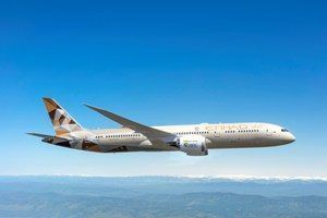 Etihad flies the world's first flight using bio-fuel made in the UAE by Khalifa University