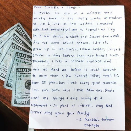 'It's been 20 years, but I still carry great remorse': Waitress mails $1K, apology after stealing decades ago