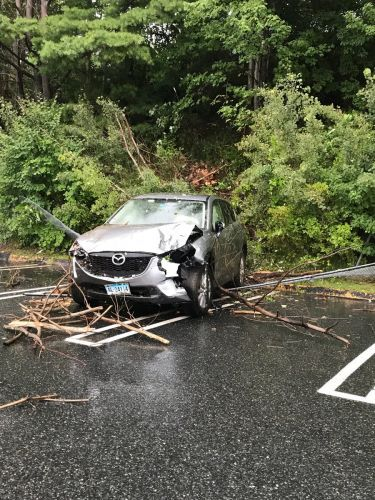 SUV ends up in Sears parking lot after driver loses control on Mass Pike