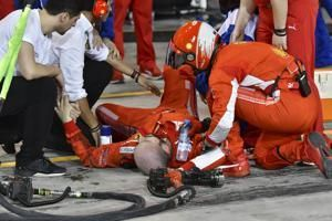 Ferrari mechanic hit by Raikkonen says he's OK after surgery