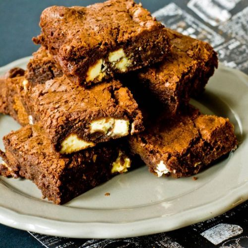 Gingerbread white chocolate brownie
