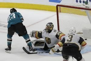 Sharks rally from down 3 in 3rd, beat Vegas in OT in Game 7