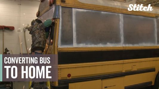Students get hands-on learning by transforming school bus into tiny home