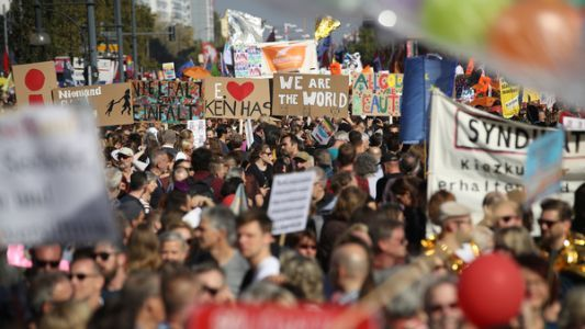 Protesters Throng Berlin In Massive Rally To Support 'Open And Free Society'