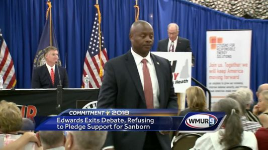 Edwards exits debate, refusing to pledge support for Sanborn