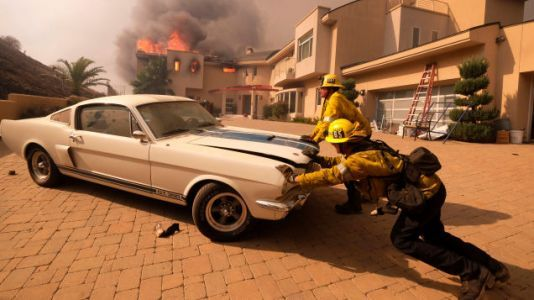 Firefighters Push a GT350 Out of a Burning Home in California