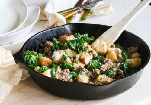 Quick Sausage, Kale, and Crouton Sauté from Smitten Kitchen Every Day