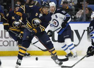 Tempers flare between Sabres' Kane, Falk during practice